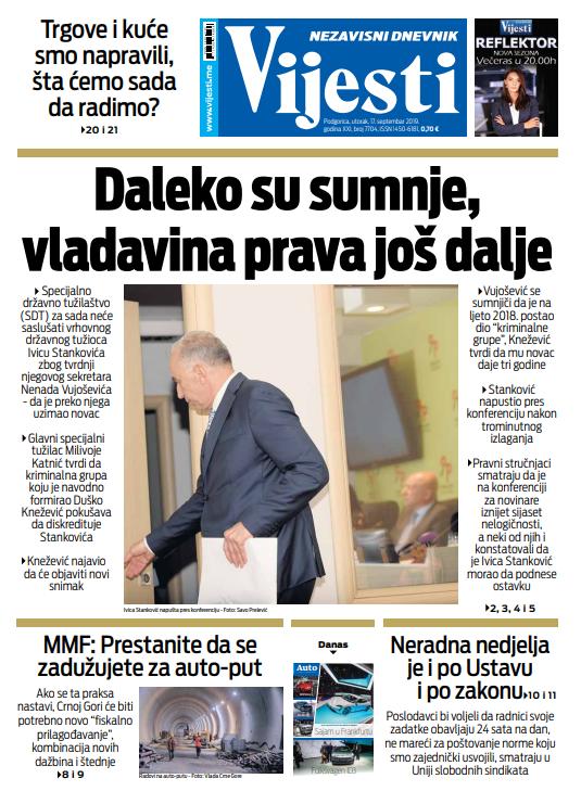 """Naslovna strana """"Vijesti"""" za 17. septembar"""