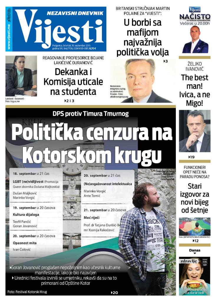 """Naslovna strana """"Vijesti"""" za 19. septembar"""