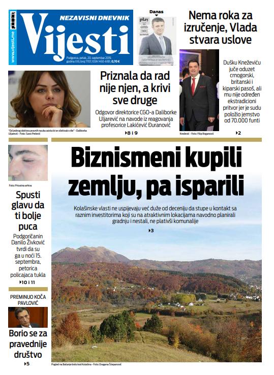 """Naslovna strana """"Vijesti"""" za 20. septembar"""
