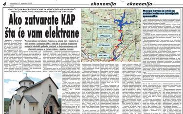 """Stranica """"Vijesti"""" od 21. septembra 2009."""