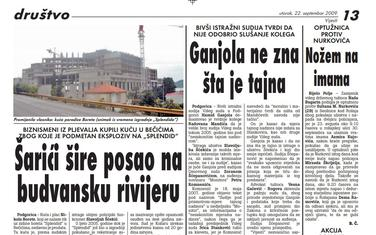 """Stranica """"Vijesti"""" od 22. septembra 2009."""