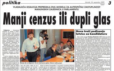 Vijesti, 24. septembar 2009.