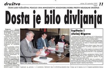 """Strana """"Vijesti"""" od 26. septembra 2009."""