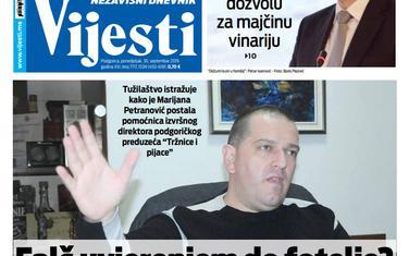 """Naslovna strana """"Vijesti"""" za 30. septembar"""