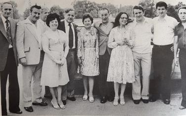 """Članovi """"Lovćena"""" u Detroitu 1978. Treći zdesna Ljubo Mijač"""