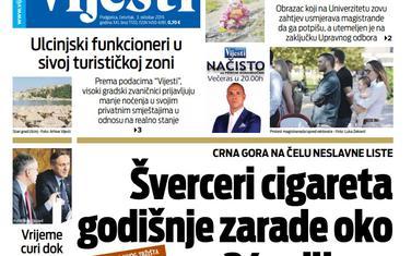 """Naslovna strana """"Vijesti"""" za 3. oktobar"""