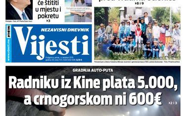 """Naslovna strana """"Vijesti"""" za 4. oktobar"""