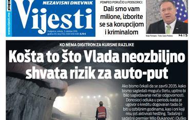 """Naslovna strana """"Vijesti"""" za 5. oktobar"""