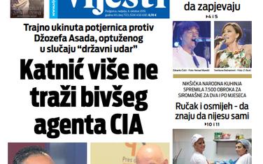 """Naslovna strana """"Vijesti"""" za 6. oktobar"""