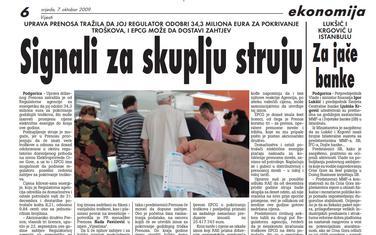 """Stranica """"Vijesti"""" od 7. oktobra 2009."""