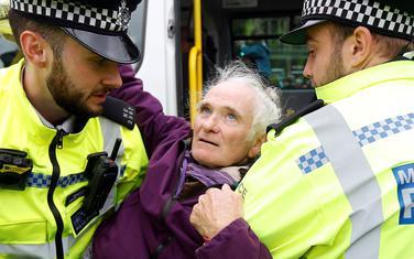 Detalj prilokom hapšenja ekoloških aktivista u Londonu