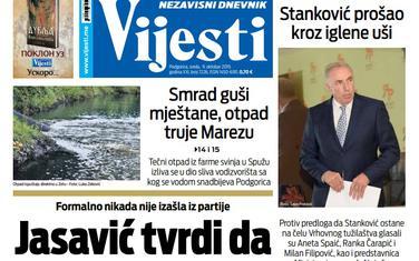 """Naslovna strana """"Vijesti"""" za 9. oktobar"""