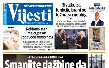 """Naslovna strana """"Vijesti"""" za 10. oktobar"""