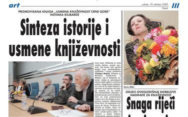 """Stranica """"Vijesti"""" od 10. oktobra 2009."""