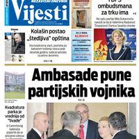 """Naslovna strana """"Vijesti"""" za 12. oktobar 2019. godine"""