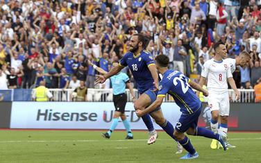Vedat Murići (Kosovo) slavi gol protiv Češke prošlog mjeseca