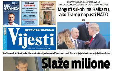 """Naslovna strana """"Vijesti"""" za 14. oktobar 2019."""