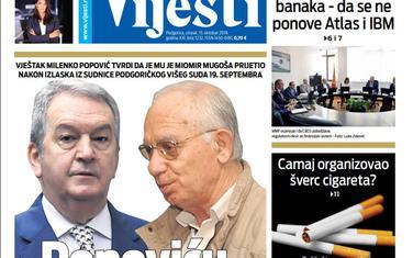 """Naslovna strana """"Vijesti"""" za 15. oktobar 2019."""