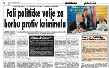 """Strana """"Vijesti"""" od 15. oktobra 2019."""