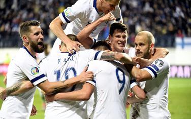 Slavlje  fudbalera Finske nakon prvog gola