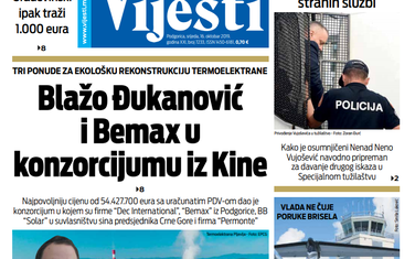 """Naslovna strana """"Vijesti"""" za 16. oktobar 2019. godine"""
