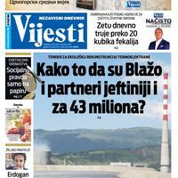 """Naslovna strana """"Vijesti"""" za 17. oktobar"""