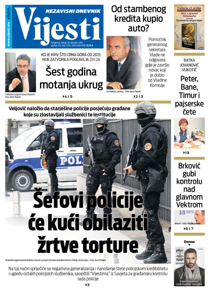"""Naslovna strana """"Vijesti"""" za 18. oktobar 2019."""