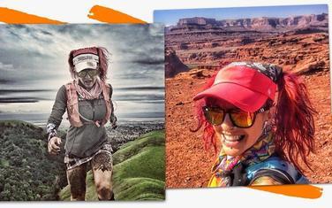 Kejt trči preko brda i pozira u pustinji