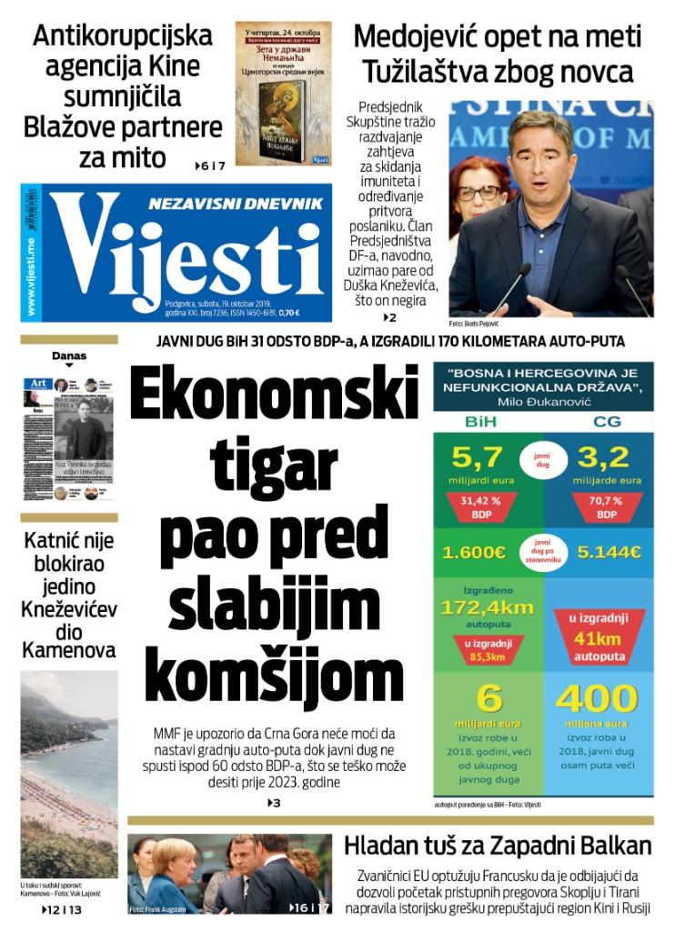 """Naslovna strana """"Vijesti"""" za 19. oktobar 2019."""