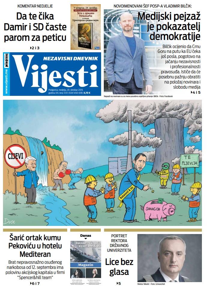 """Naslovna strana """"Vijesti"""" za 20. oktobar 2019."""