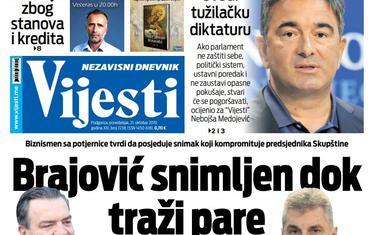 """Naslovna strana """"Vijesti"""" za 21. oktobar 2019."""