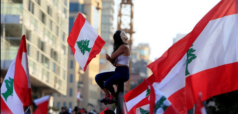 Detalj sa protesta u Bejrutu