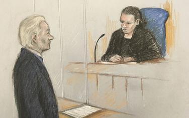 Asanž se pojavio pred sudom: Crtež iz sudnice