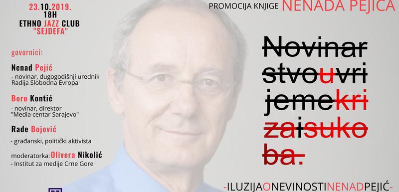 Najava za promociju Pejićeve knjige