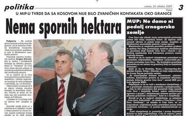 Vijesti, 24. oktobar 2009. godine