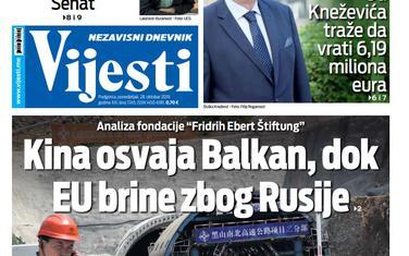 """Naslovna strana """"Vijesti"""" za 28. oktobar 2019."""