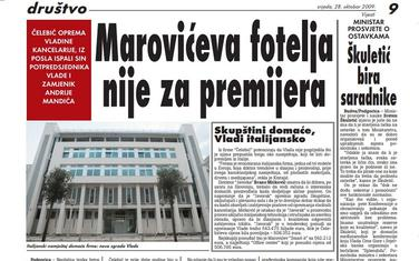 """Stranica """"Vijesti"""" od 29. oktobra 2009."""
