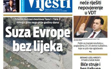 """Naslovna strana """"Vijesti"""" za 29. oktobar 2019."""