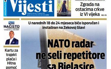 """Naslovna strana """"Vijesti"""" za 31. oktobar"""
