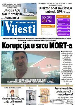 """Naslovna strana """"Vijesti"""" za 1. novembar 2019."""