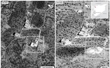 Bagdadijev kompleks prije i nakon vazdušnog napada u Idlibu