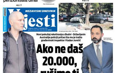"""Naslovna strana """"Vijesti"""" za 2. novembar 2019."""