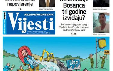 """Naslovna strana """"Vijesti"""" za 3. novembar 2019."""