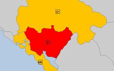 Crveni meteo alarm za centralni dio zemlje