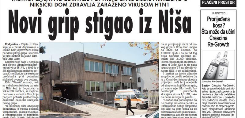 Vijesti, 3. novembar 2009.