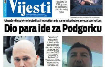 """Naslovna strana """"Vijesti"""" za 4. novembar 2019."""
