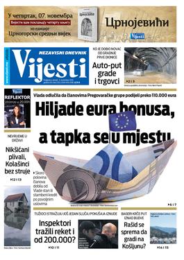 """Naslovna strana """"Vijesti"""" za 5. novembar 2019."""