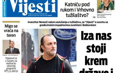 """Naslovna strana """"Vijesti"""" za 6. novembar 2019."""