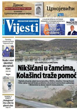 """Naslovna strana """"Vijesti"""" za 7. novembar 2019."""