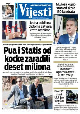 """Naslovna strana """"Vijesti"""" za 8. novembar 2019."""